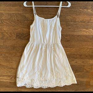 White Lace Spaghetti Strap Mini Dress Medium